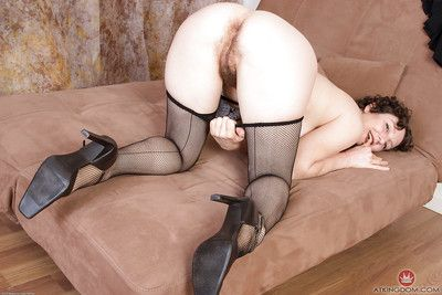 Adult pantyhose model Artimesia revealing flimsy pussy in on one