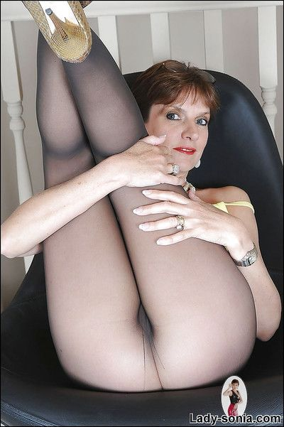 Risqu? of age laddie give shaved pussy posing forth unexpected pantyhose