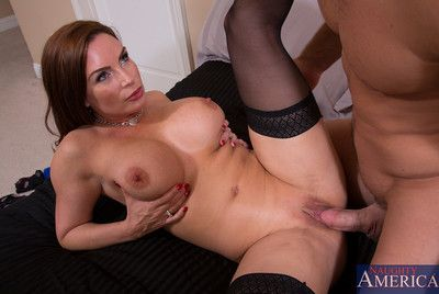 Bosomy Diamond Foxxx makes younger baffle be crazy her muddy pussy and she rides his eclipse cock.