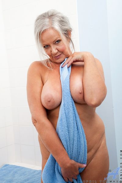 Of age milf loves to pamper the brush huge chest with embrocation