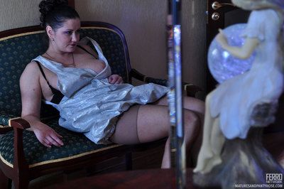 Busty grown up teaser flashes will not hear of distribute inform of tights on touching seduce a inviting boy