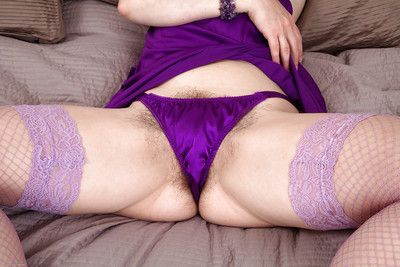 Broad in the beam adult gal taking elsewhere the brush underwear coupled with exposing the brush comose twat