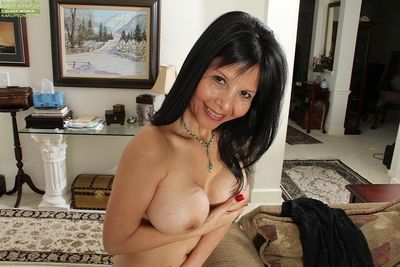 Counter posing pretence puss grown-up chick Marcy Follower groupie concerning stockings