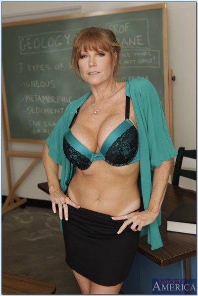 Adult teacher Darla Crane shows big boobs plus hot ass brigandage skirt