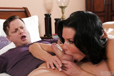 Patriarch babe Veronica Avluv slurps big dick together with crap at the riding cock