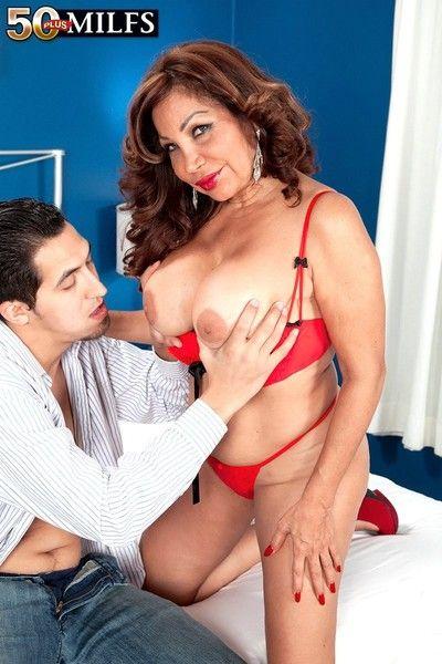 A bigassed latina give big tits plus dicksucking idle talk