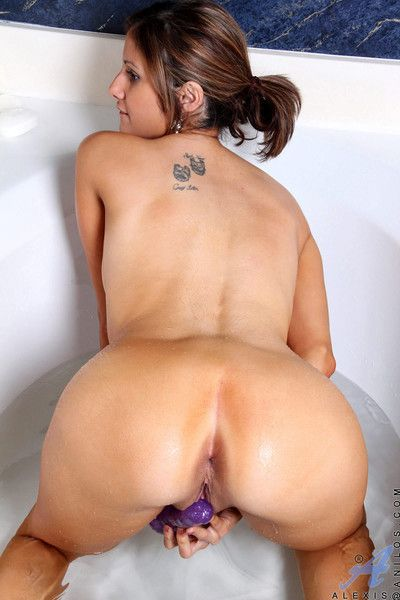 anilos alexis soaks her council and bangs her wet pussy in the matter of a vibrator