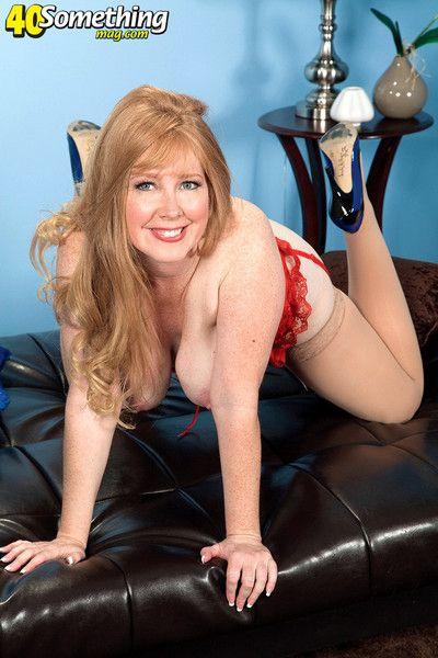 Redhead mature son in crestfallen red-hot stocking