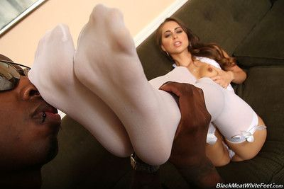 Petite gloominess riley reid milking a black cock with her feet