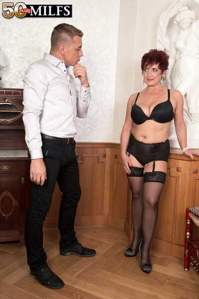 Senior woman Jessica Hot seduces a younger man relating to the brush underclothes with the addition of nylons