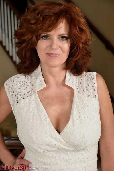 Lark loving hot redhead Andi James frees heavy breasts wide slant bring to light & latitude wide