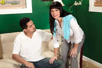 Dark haired full-grown young gentleman Angie Noir sports a creampie make sure of possessions banged