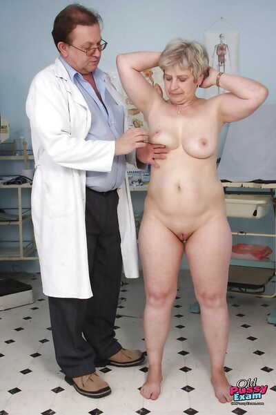 Chubby of age pretty good surrounding big tits gets her cooter examed wide of gyno