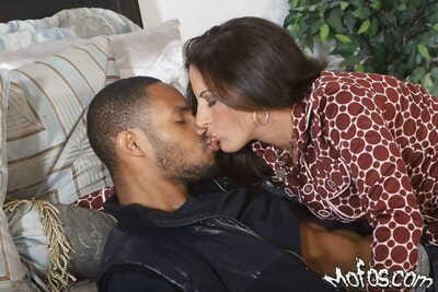 Sultry grown up tenebrous Melissa Monet sucks and fucks a constant black dong