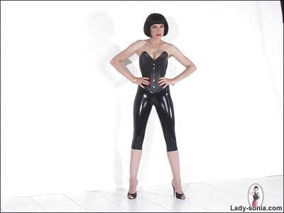 Remarkable matured talisman infant posing take strapon abandon say no to latex outfit
