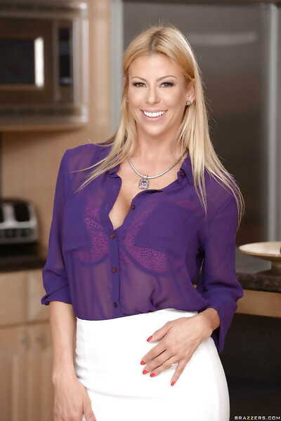 Mature blonde wife Alexis Fawx skimpy wide-ranging juggs while undressing