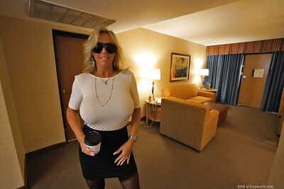 Older blonde housewife Sandra Otterson freeing titanic babe type titties