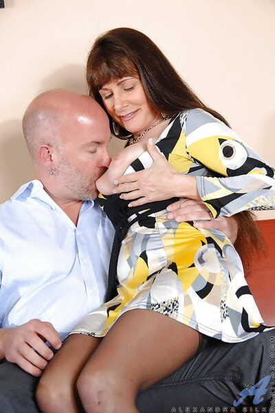Full-grown Alexandra Silk gets pounded from dorsum behind in sexy stockings