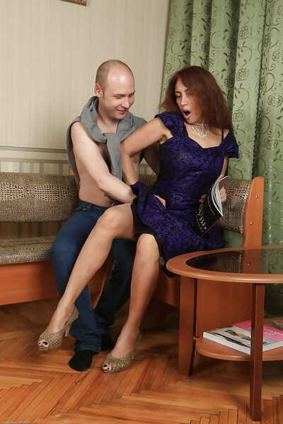 Mature woman Karolina gives a bj to the fore taking hardcore anal drilling