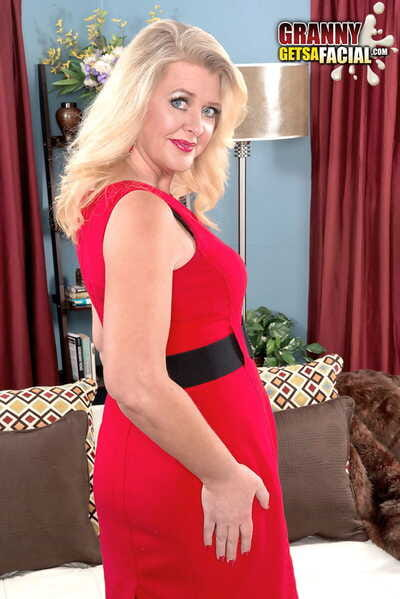 44-year-old fair-haired Kay DeLynn got sperm on face check into say no to first on camera carnal knowledge