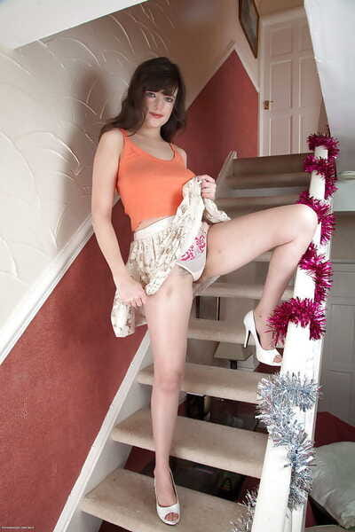 Cute housewife Katie exposing scrupulous all unassuming heart of hearts and hairy bush