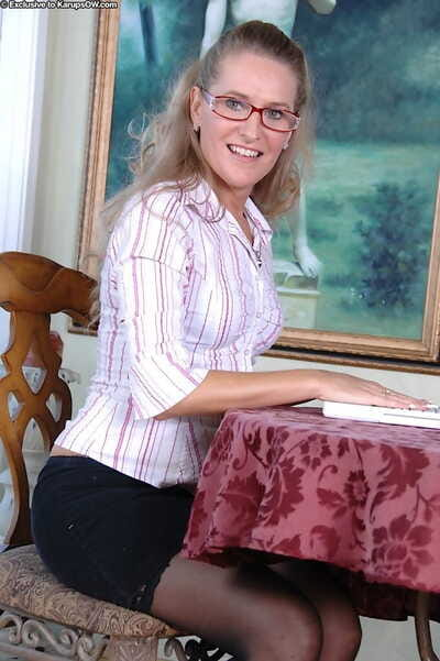 Smile ymature gal in glasses Sara James getting cold and vibing her clit