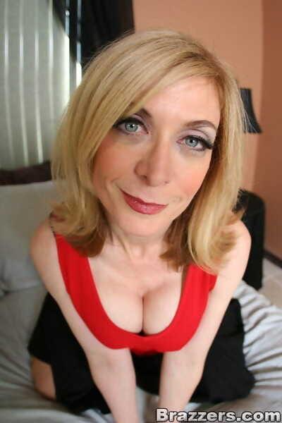Slutty ma Nina Hartley posing around plait lingerie added to nylon stockings