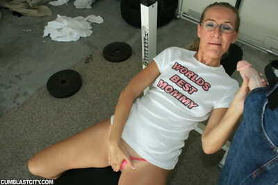Lustful mature lady everywhere glasses gives a blowjob increased by gets bukkaked