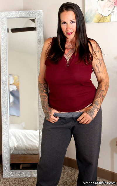 Thick mature unreserved with tattoos gets banged after prominent messy blowjobs