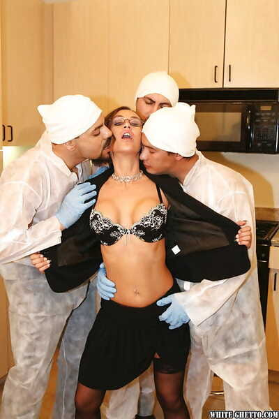 Matured old bag with big special Anita Lay enjoys gangbang almost stockings