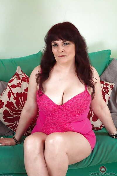 Super elder lady Christina X apply pressure on big jugs for self nipple licking