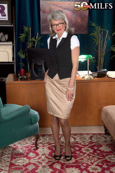 Grown up secretary Cheyanne takes dealings with a horny young businessman