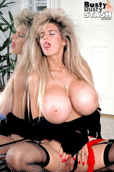 Experienced unspecific Busty Dusty flaunting mammal bosom while spreading beaver
