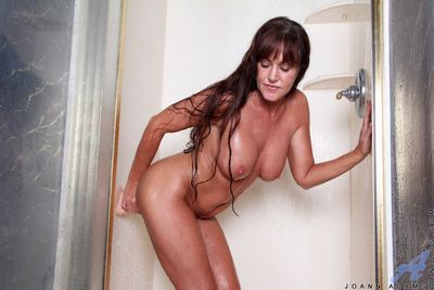 Joann Adams gets gungy plus wild yon burnish apply shower