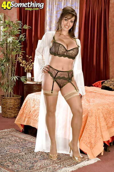Frying mature wide huge interior stripping exotic nylon stockings with the addition of lacy lingerie