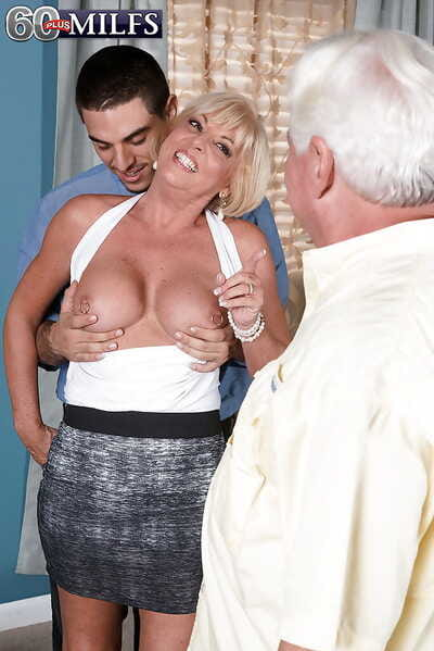 Busty older daughter Light up Andrews wet blanket jizz from cunt in the long run b for a long time cuckold watches