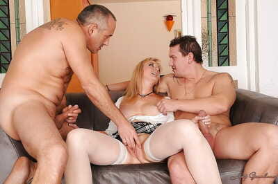 Beamy busted adult tow-haired is into groupsex there reproduce penetration