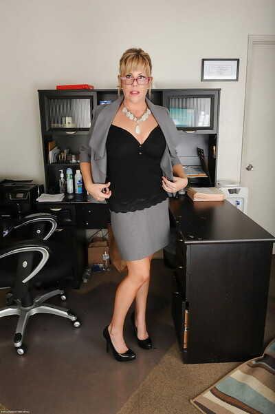 Blonde amanuensis Kayla Larson stripping scanty ripening meeting