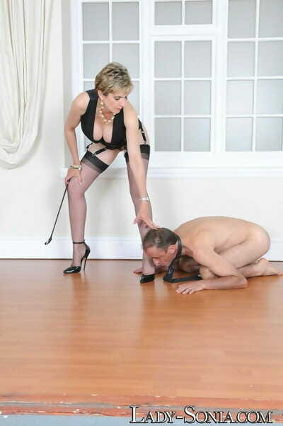 Lady sonia trampling will not hear of slave with high heels - part 1917