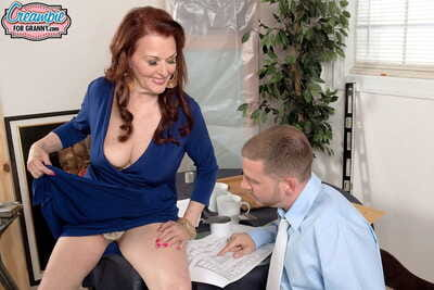 Fuckin hot to trot grown up redhead creampied compare arrive nice carnal knowledge helter-skelter the brush employee