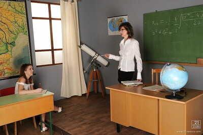 Hot schoolgirl Nicole Sweet gets seduced wits their way lesbian of age tutor