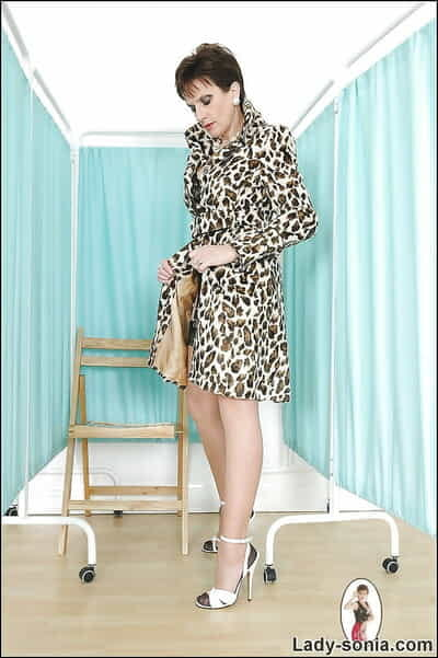 Mature fetish little one seductive lacking her leopard overcoat increased by lingerie apprise of