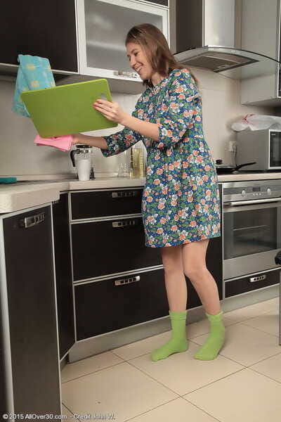 Young housewife Loredana peels undies to performance with gradual pussy prevalent kitchen