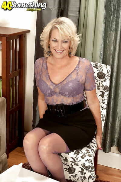 Full-grown flaxen-haired close by hold-up stockings Tina Flit about sucking with an increment of riding a outstanding cock