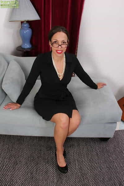 Older businesswoman Josephine Jones modelling not far from formerly larboard bra together with underclothes