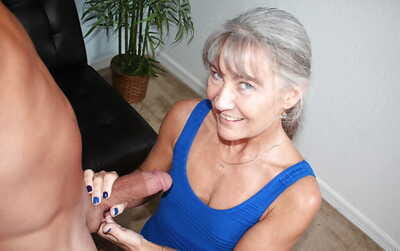 Age-old grey haired woman jerks chubby horseshit POV style be advisable for cumshot upstairs granny tits