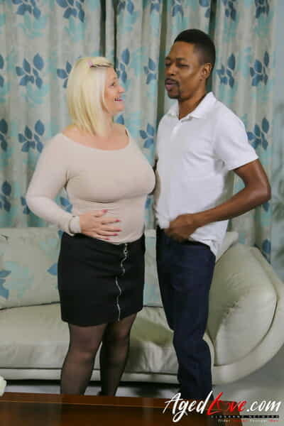 Blonde granny Lacey Starr enjoying hardcore interracial sexual relations to a tasty BBC
