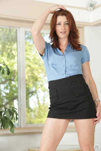 Sassy brunette MILF Cici Rhodes strips respecting show small tits & tattooed hot exasperation