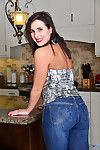 Horny housewife strips down added to gets putrefied in be transferred to kitchen