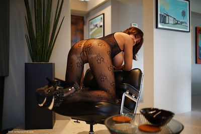 Chesty housewife Sandra Otterson modelling glum crotchless bodystocking